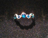 Swarovski Crystal Blue and Green Ring // Adjustable
