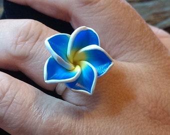 Pretty Blue & Yellow Flower Ring // Adjustable