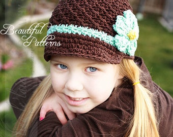 Crochet Hat Pattern Girl Crochet Hat Daisy Visor Beanie PDF 150 Newborn to Adult  Photography Prop Instant Download