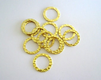 Hammered Metal Rings Gold 16mm Connectors Plated Circles Links Findings Wholesale Jewelry Supplies Supply CrazyCoolStuff