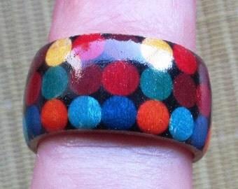 Colorful Dots on Black (Ellsworth Kelly) -- adjustable wood ring