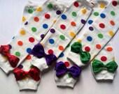 Rainbow Multicolor Polka  Dot Leg Warmers with Sparkle, Glitter Bows