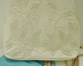 Vintage Walborg Mid Century White Patent Beaded Purse/Handbag/clutch for Wedding/Event/Prom