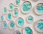 Quote Collection, Funny and Wise, Upcycled Jar Lids, Handmade in Holland.
