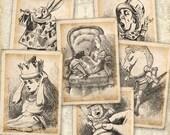 Alice in Wonderland Greeting Cards on Digital Collage Sheet best for paper craft, vintage cards, scrapbook - ALICE