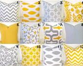 PILLOWS Gray Decorative Throw Pillows Yellow Throw Pillow Covers Gray and Yellow pillow .ALL SIZES. 14x14 16x16 18 20 Sale. Home decor