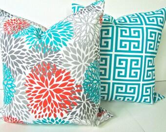 Teal PILLOWS Set of 2 -Orange Teal Throw Pillow Covers 20x20 Teal Turquoise Pillow Covers Gray Throw pillows Indoor Outdoor