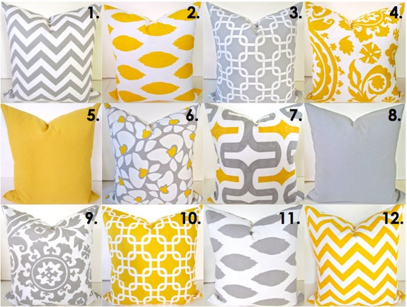 Yellow And Grey Throw Pillow Covers : Sale Yellow Pillow Covers SELECT ANY SIZE Gray Decorative Throw Pillows Yellow Throw Pillow ...