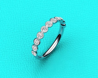 14K white gold bubble style bezel set 0.70ct diamond band