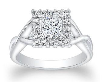 Ladies Platinum  engagement ring with 1.50ct Princess Cut white sapphire center and 0.25 ctw G-VS2 diamonds
