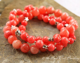 Pink Coral Silver Star Bead Stretch Stack Bracelets