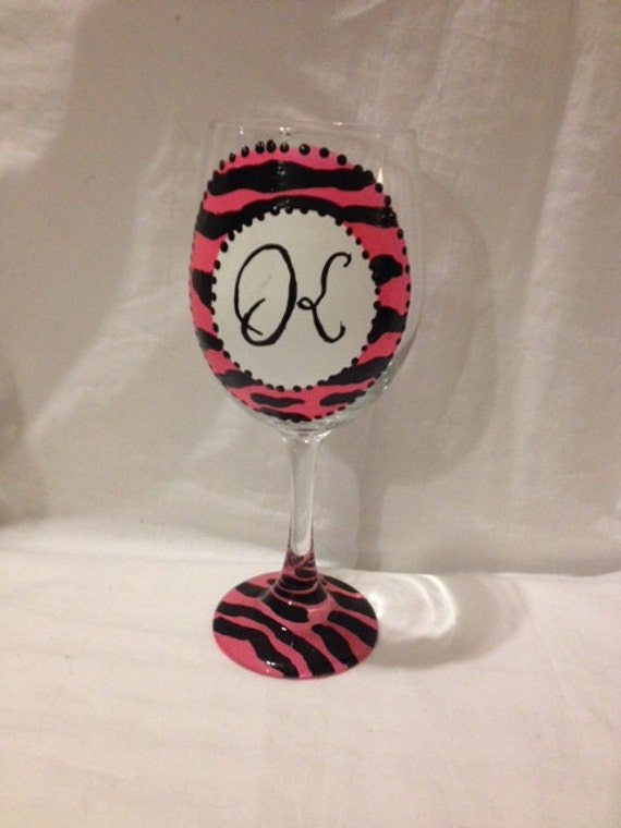 Items Similar To Hand Painted Initial Wine Glasses On Etsy