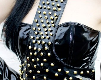 ADELE PIERRI 'Entice' Glam Goth Rock Heavy Metal style Black Shiny PVC Gold studded Harness Top.