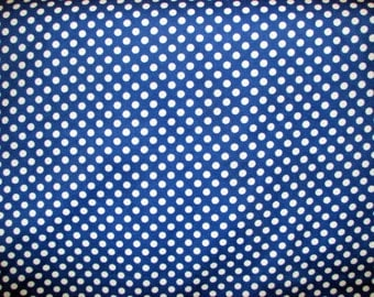 Royal blue and white flannel polka dots - white dots on royal blue - by the YARD