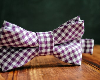 Bow Tie - Newborn, Infant, Toddler, Boy - Plum Purple Gingham