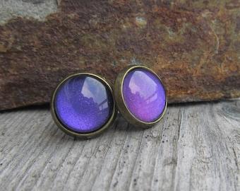 Purple post earrings gift ideas for her under 10 glass cab earrings