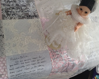 Wedding Dress Quilt -Wedding Guest Book Quilt-Wedding Quilt-Christening Quilt from Wedding Dress-Christening Blanket