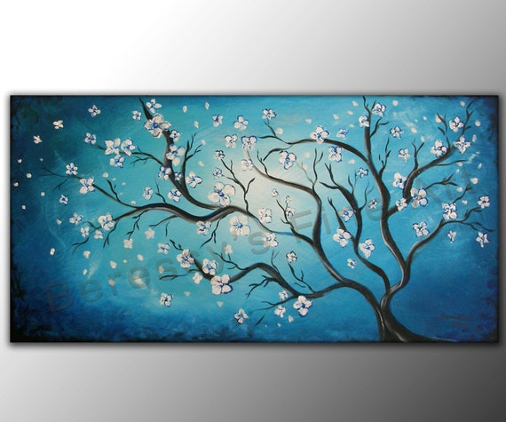 "18""x36"" Original Abstract Painting by Alexandra H. Beressy "" Blossoming """