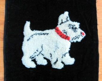 SALE 1960s Scotty Dog Velvet Throw Pillow Cover