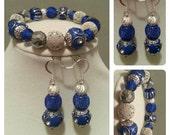 Royal Blue & Silver Bracelet w/ Matching Earrings
