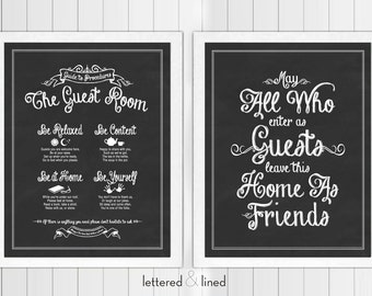 Guest Room Print Set: Guide To Procedures and May All Who Enter As Guests Leave As Friends - 11x14 print - Quote, Sign, Vintage, Decor, Art