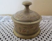 Small lidded bronze container: Made In India