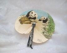 sale Paper hand fan, panda bears, folding hand fan, Asian hand fan, Japanese hand fan
