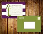 Printable Stripe New House Announcement 4x6 Postcard - Moving Announcement