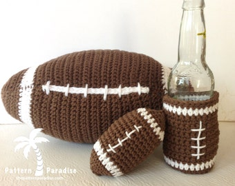 Football Fun Set with Football and Beverage Cozy , Crochet Pattern, PDF 12-120 INSTANT DOWNLOAD