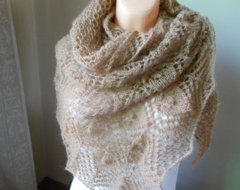 Lace shawl mohair yarn  camel beige , hand knitted