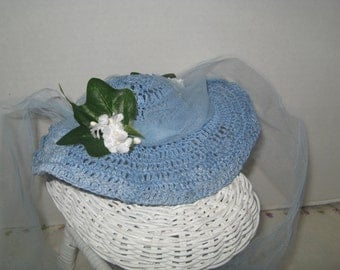 Blue Doily Hat w blue tulle flowers floppy look for 14-17 inch Doll