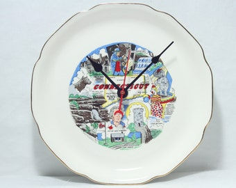 Connecticut  Wall Clock, Souvenir Travel Plate, Geekery, Clocks by DanO