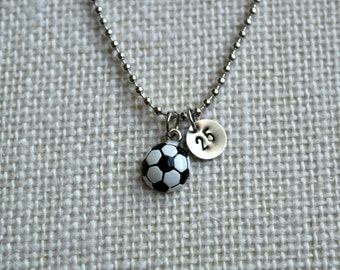 Soccer Ball Charm Necklace - You Choose Number - Hand Stamped - Nickel Silver