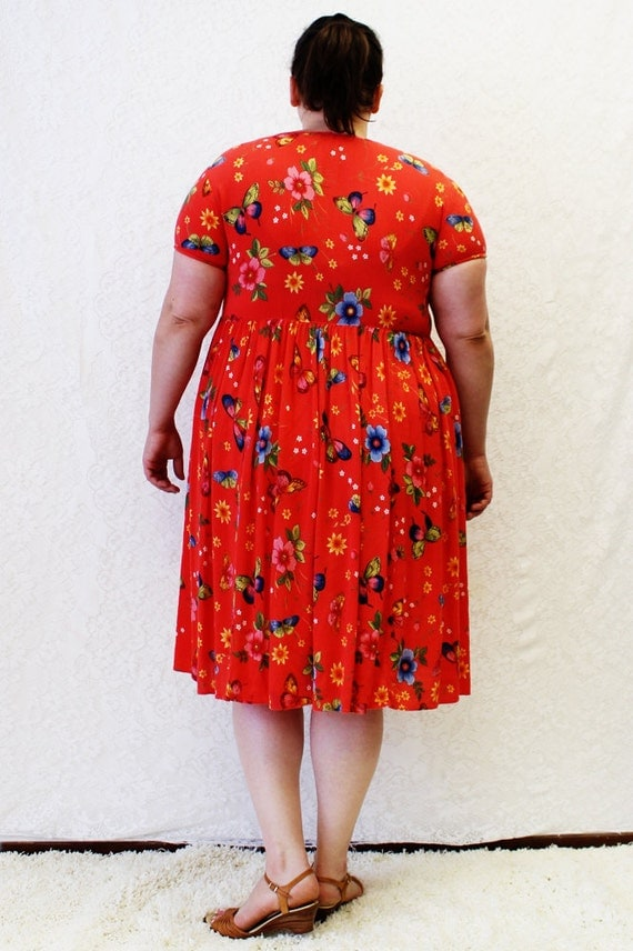 Plus Size Vintage Orange Butterfly Baby Doll Dress Size L