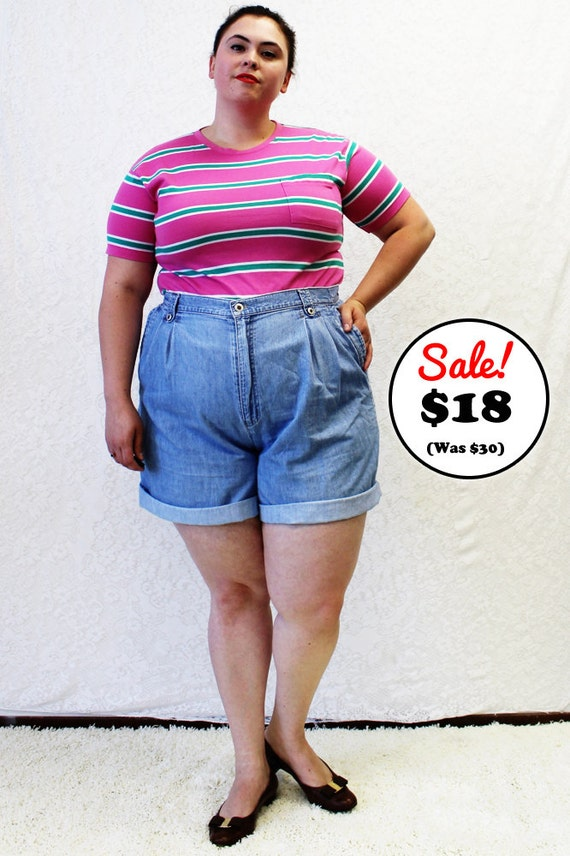 CLEARANCE Plus Size Vintage Denim Pleated High by TheCurvyElle