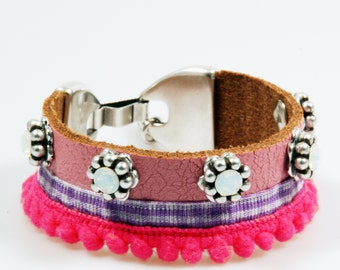 Leather cuff vintage pink with neon pink - leather bracelet lace and ribbon - hippie style - Swarovski - SALE from eur 39,95
