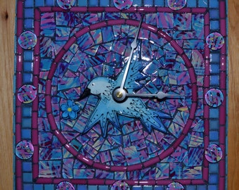 Watercolor Pastel Hummer Mosaic Clock
