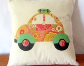 Decorative VW Beetle Printed Pillow Cover. Sixties Style Throw Cushion Cover. 14 x 14 inch Pillow