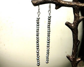 Dangle Earrings Silver Pyrite