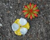 Vintage Enamel Flower Brooches Pins Orange, Green, Yellow, White
