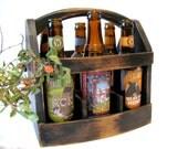 Handmade Beer bottle six pack carrier Wood beer box 6 pack carrier Beer boat. Gift for him.
