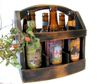 Handmade Beer bottle six pack carrier Wood beer box 6 pack carrier Beer boat. Gift for him.
