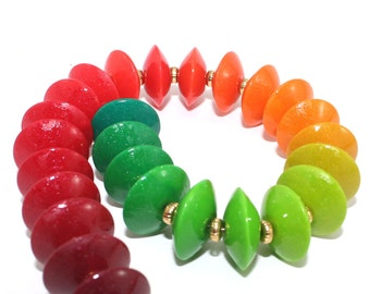 Colorful elegant saucer beads, Ombre polymer Clay beads in gradient transformation from maroon, orange to green, set of 28 lentil beads