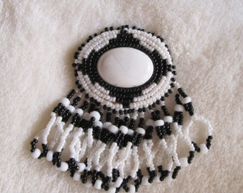 Hand Beaded Black and White Brooch