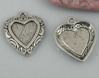 30pcs Tibetan Silver color heart shaped cabochon settings EF0457