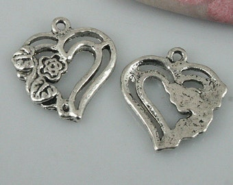 28pcs tibetan silver color heart shaped flower charms EF0461