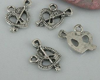 40pcs tibetan silver color heart love design charms EF0518