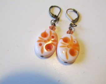 Orange Carved Earrings