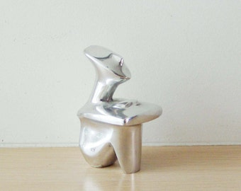 Sitting figure sculpture, minimal aluminum sculpture, Greek Museum copy Cycladic figure, silver coloured modern metal figure, made to order