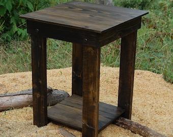 Side Table/ End Table/ Bedside Table/ Reclaim Wood/ Dark Walnut